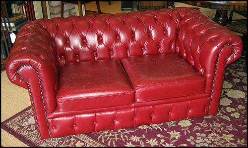 Red Leather Chesterfield Sofa.